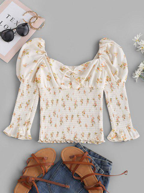 unique Tie Collar Smocked Ditsy Floral Milkmaid Blouse - WHITE M Mobile