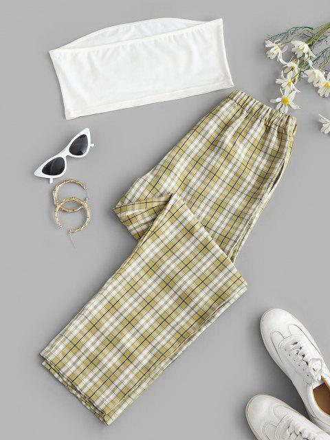 fashion Plaid Butterfly Print Bandeau Two Piece Pants Set - LIGHT GREEN L Mobile