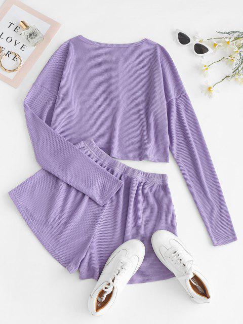 fancy Lounge Knit Henley Two Piece Shorts Set - PURPLE S Mobile