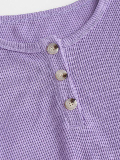 trendy Lounge Knit Henley Two Piece Shorts Set - PURPLE M Mobile