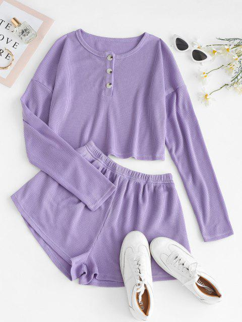 trendy Lounge Knit Henley Two Piece Shorts Set - PURPLE M Mobile
