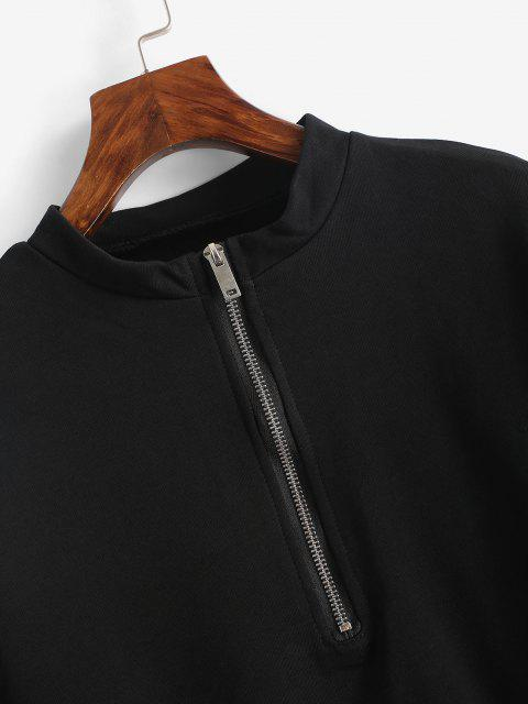 shops Half Zip Cropped Pullover Sweatshirt - BLACK S Mobile