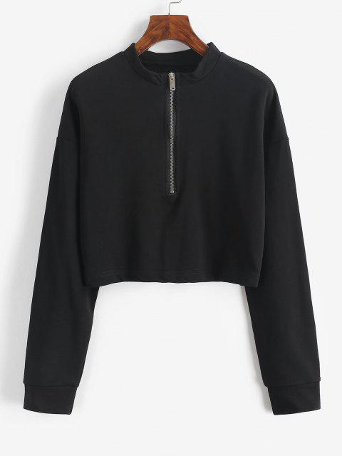 lady Half Zip Cropped Pullover Sweatshirt - BLACK M Mobile