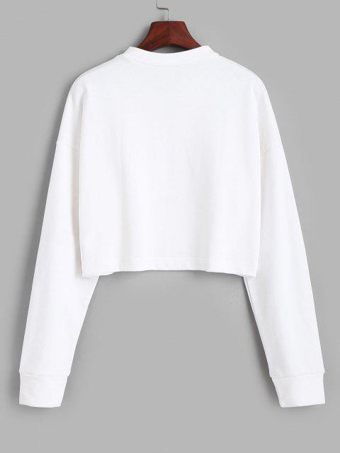 shops Half Zip Cropped Pullover Sweatshirt - WHITE L Mobile