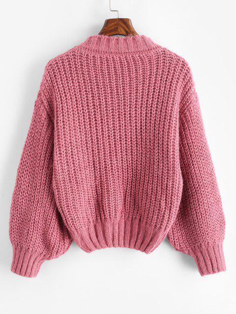 グリッターモックネックセーターチャンキー - ライトピンク ワンサイズ Mobile