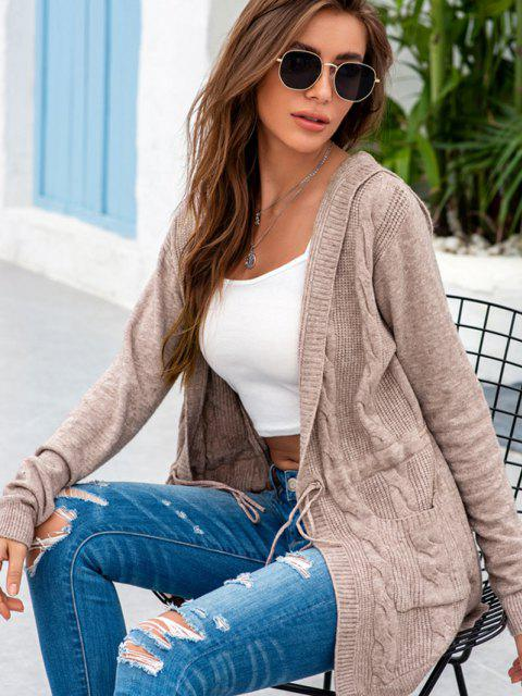 best Drawstring Dual Pocket Cable Knit Cardigan - COFFEE ONE SIZE Mobile