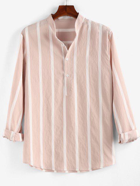 shop ZAFUL Striped Print Half Button Long Sleeve Shirt - LIGHT PINK M Mobile