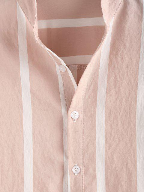 trendy ZAFUL Striped Print Half Button Long Sleeve Shirt - LIGHT PINK 2XL Mobile