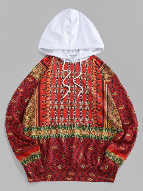 ZAFUL Tribal Pattern Colorblock Hoodie - أحمر 2XL Mobile