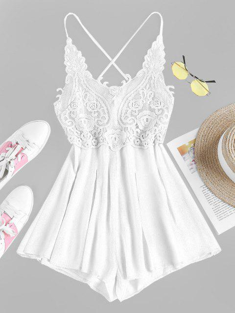 online ZAFUL Lace Up Lace Insert Cami Romper - WHITE M Mobile