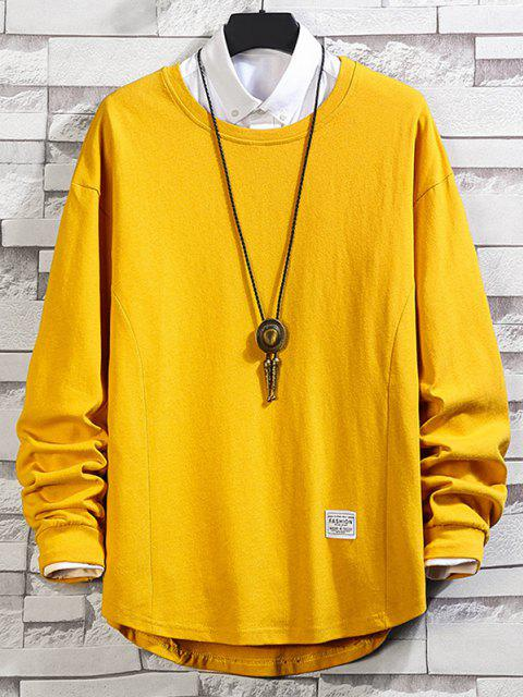 fashion Asymmetric Hem Plain Drop Shoulder Sweatshirt - BEE YELLOW XL Mobile