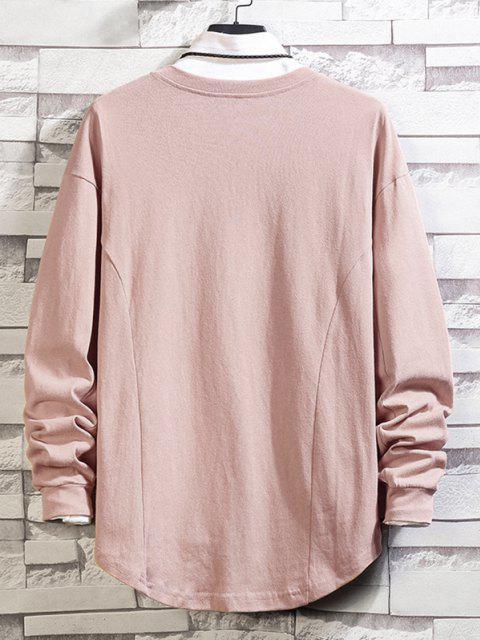 Asymmetrischer Saum Einfaches Hängender Schulter Sweatshirt - Rosa L Mobile