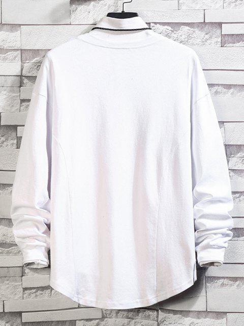 Asymmetrischer Saum Einfaches Hängender Schulter Sweatshirt - Weiß M Mobile