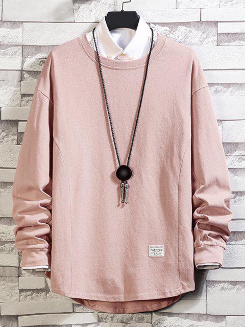 Asymmetrischer Saum Einfaches Hängender Schulter Sweatshirt - Rosa 3XL Mobile