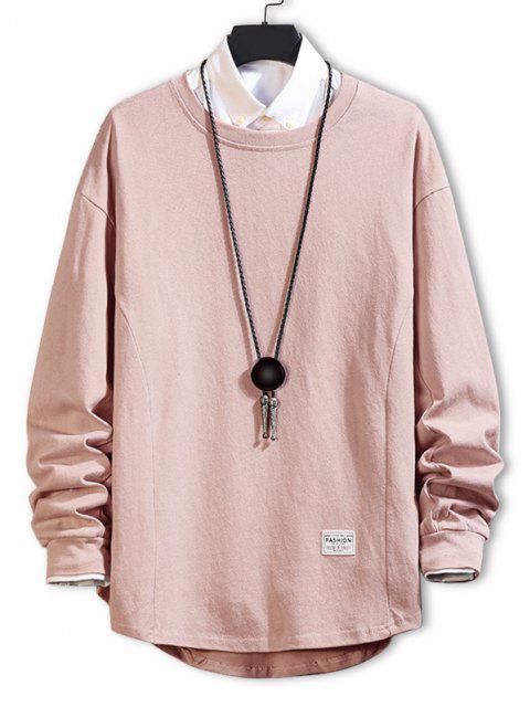 Asymmetrischer Saum Einfaches Hängender Schulter Sweatshirt - Rosa XL Mobile
