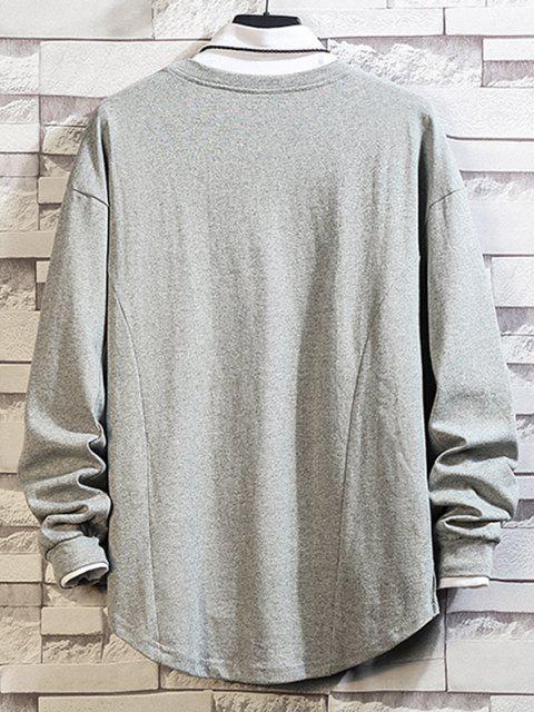 Asymmetrischer Saum Einfaches Hängender Schulter Sweatshirt - Grau 4XL Mobile