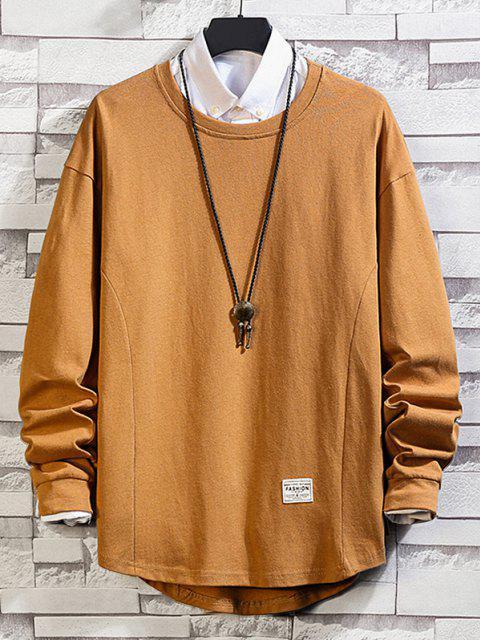 Asymmetrischer Saum Einfaches Hängender Schulter Sweatshirt - Khaki 4XL Mobile