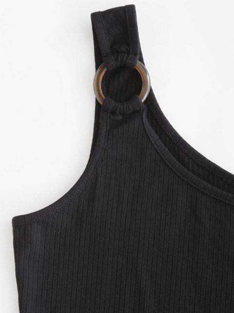 new Snap Button Ribbed O-ring Bodysuit - BLACK S Mobile