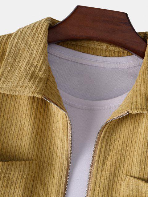 Jaqueta de Veludo de Algodão Liso com Bolso - Amarelo S Mobile