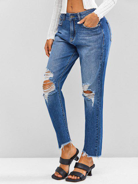 online ZAFUL Distressed Frayed Zipper Fly Jeans - DEEP BLUE L Mobile
