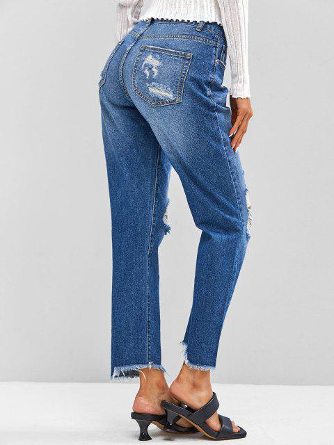 ladies ZAFUL Distressed Frayed Zipper Fly Jeans - DEEP BLUE S Mobile