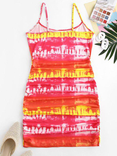 shop Tie Dye Ruched Bodycon Cami Dress - RED M Mobile