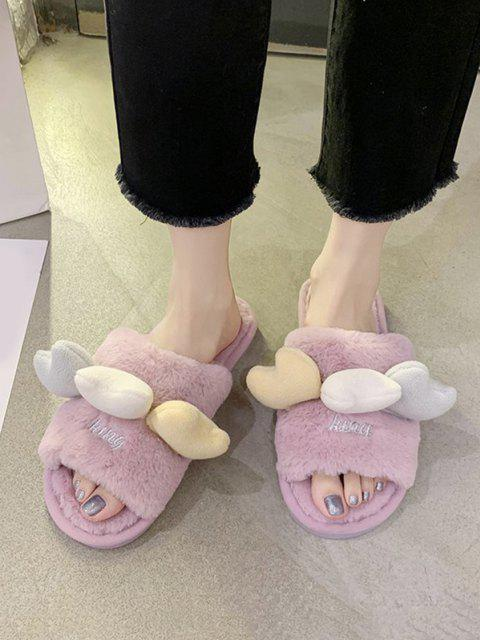 Pantofole in Peluche con Design di Cuore - Fiore Viola EU 39 Mobile