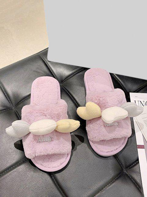 buy Heart Shape Flat Plush Slippers - PURPLE FLOWER EU 40 Mobile
