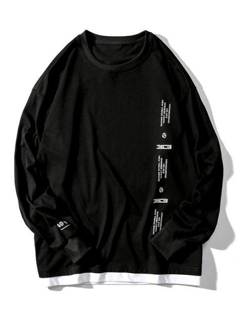 Camiseta con Estampado Gráfico de Letras - Negro XL Mobile
