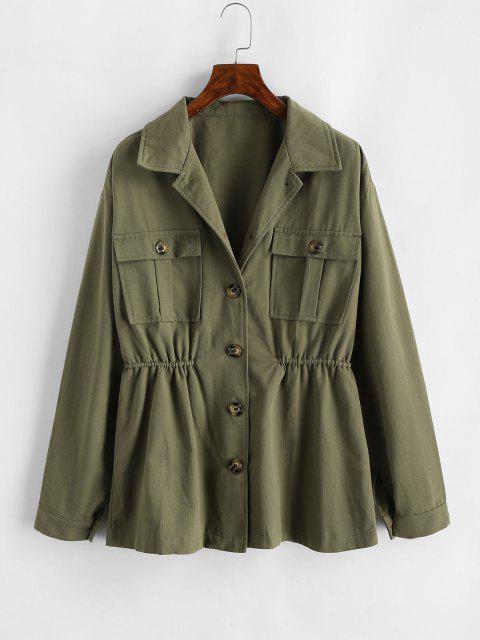 ZAFUL Flap Pockets Elastic Waist Cargo Jacket - ديب غرين M Mobile