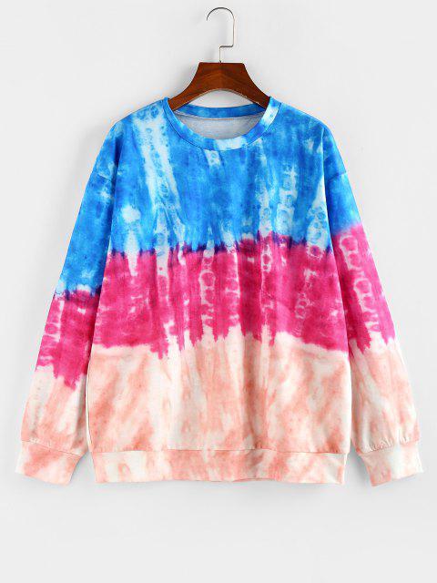 ZAFUL Tie Dye Drop Shoulder Pullover Sweatshirt - متعدد L Mobile