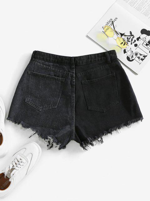 chic ZAFUL Frayed Two Tone Denim Shorts - BLACK XL Mobile