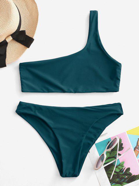 Conjunto de Bikini de Un Hombro - Pavo Real Azul L Mobile