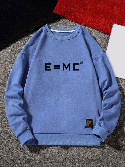 fashion Letter Graphic Applique Crew Neck Sweatshirt - BLUE XL Mobile