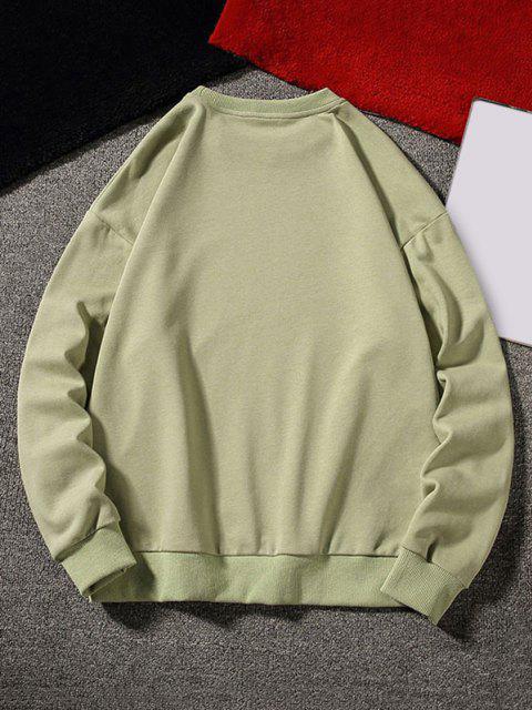 new Letter Graphic Applique Crew Neck Sweatshirt - LIGHT GREEN XL Mobile