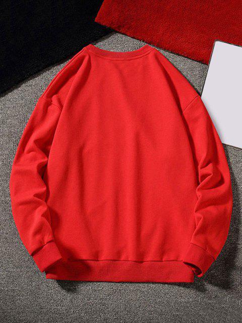 sale Letter Graphic Applique Crew Neck Sweatshirt - RED XL Mobile