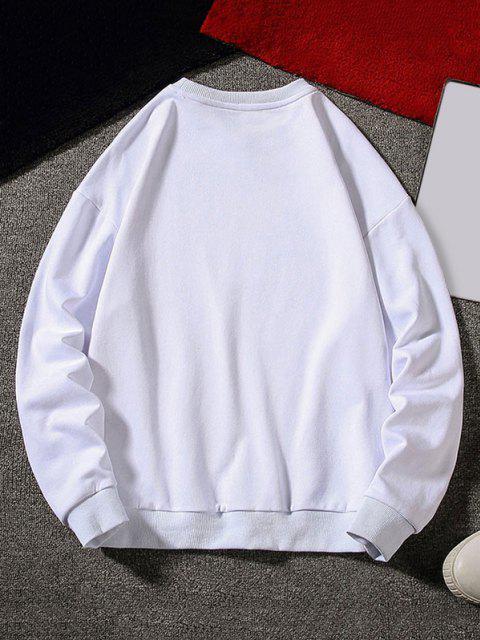 SweatshirtLettreGraphiqueImprimée à Col Rond - Blanc XL Mobile