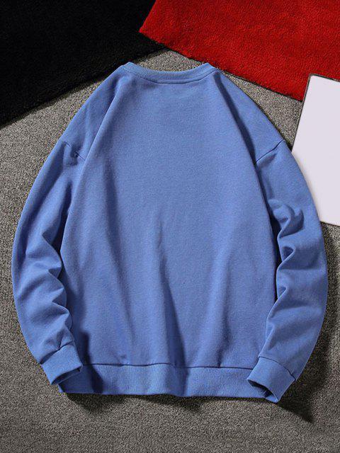 womens Letter Graphic Applique Crew Neck Sweatshirt - BLUE L Mobile