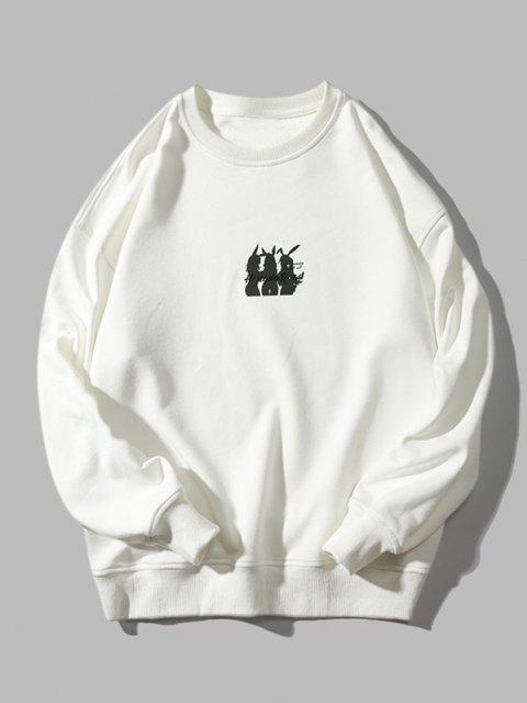Sweat-shirtLettreAnimalImprimée à Col Rond - Blanc XL Mobile