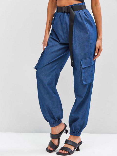 hot ZAFUL Chambray Buckle Belt Cargo Pants - BLUE L Mobile