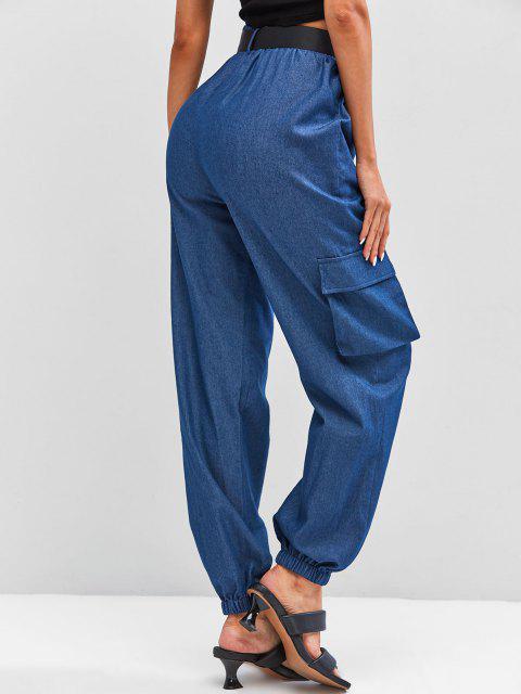 shop ZAFUL Chambray Buckle Belt Cargo Pants - BLUE M Mobile