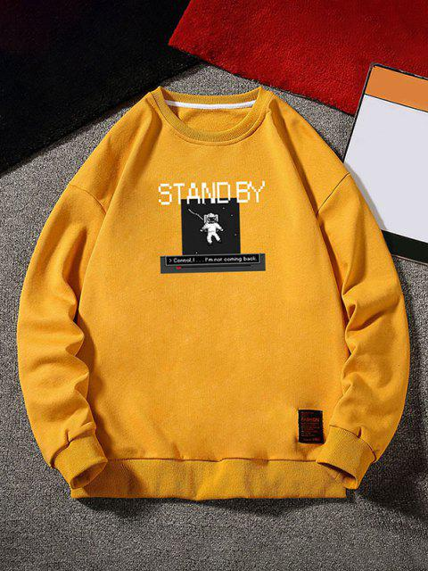 best Stand By Astronaut Graphic Sweatshirt - GINGER BROWN M Mobile