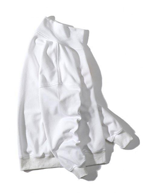 Stickerei Buchstabe Stehkragen Hängender Schulter Sweatshirt - Weiß 3XL Mobile