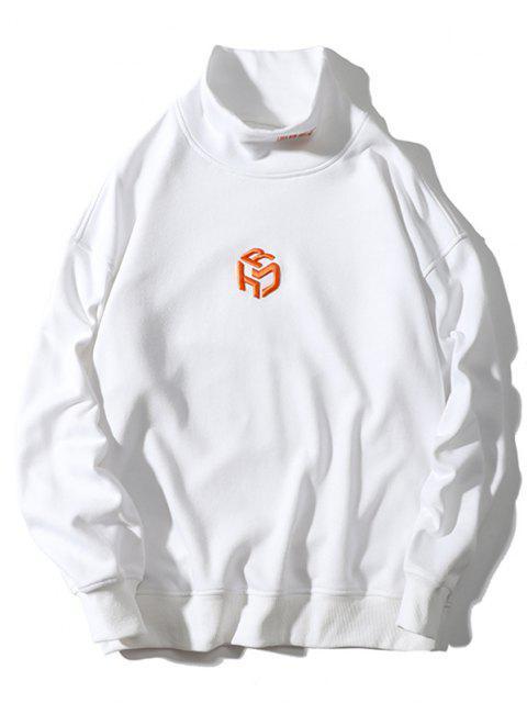 trendy Embroidery Letter Mock Neck Drop Shoulder Sweatshirt - WHITE L Mobile