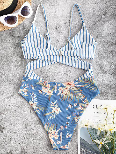 outfits ZAFUL Striped Flower Ribbed Criss Cross Cutout One-piece Swimsuit - BLUE L Mobile