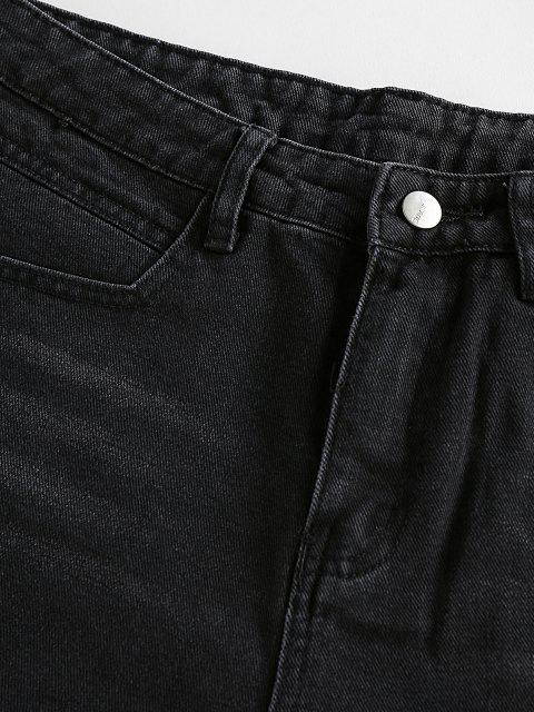 shop ZAFUL Frayed Denim Shorts - BLACK S Mobile