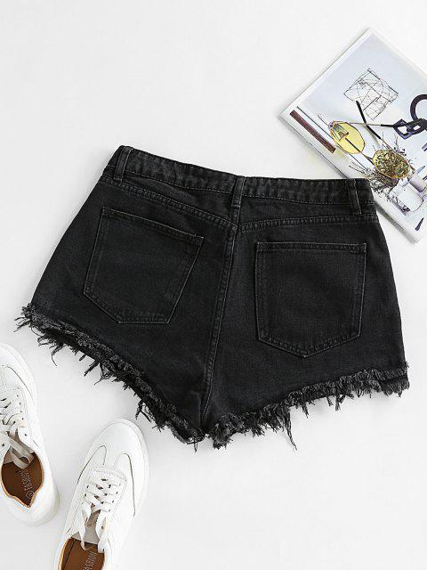 fancy ZAFUL Frayed Denim Shorts - BLACK L Mobile