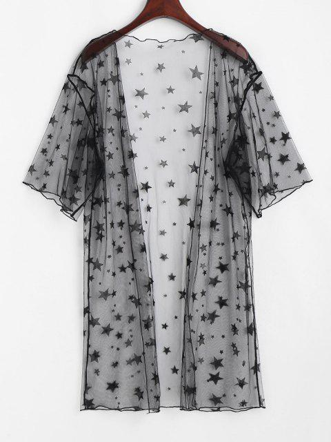 fancy ZAFUL Star Lace Open Front Sheer Cover Up - BLACK ONE SIZE Mobile