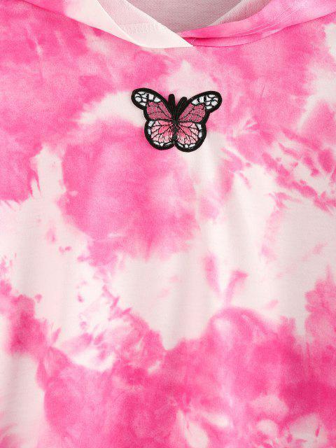 ZAFUL Sweat à Capuche Teinté Applique Papillon - Rose clair M Mobile