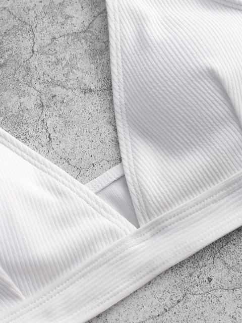 Plunge Midi Bikini Top Und Bandage Badehose - Weiß L Mobile